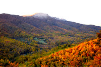 Grandfather Mountain, colored leaves & snow